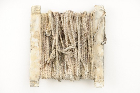 The Petrified Poem - Installation detail (Thread) <br />2013 Bronze 22cm (H) x 21cm (W) x 2cm (D)<br />Photographer Rowan Conroy