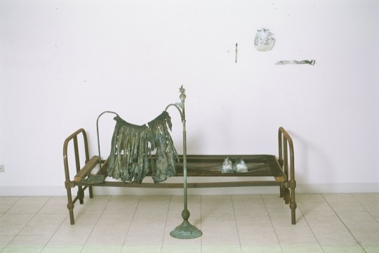 Waiting - (2001) (installation detail) (Bed) <br />Bronze and found objects - variable sizes<br />Photographer Michael Young